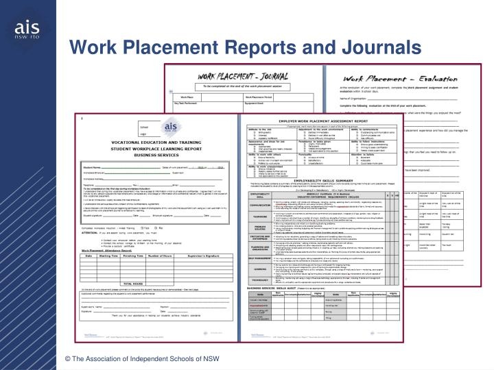 Work Placement Reports and Journals