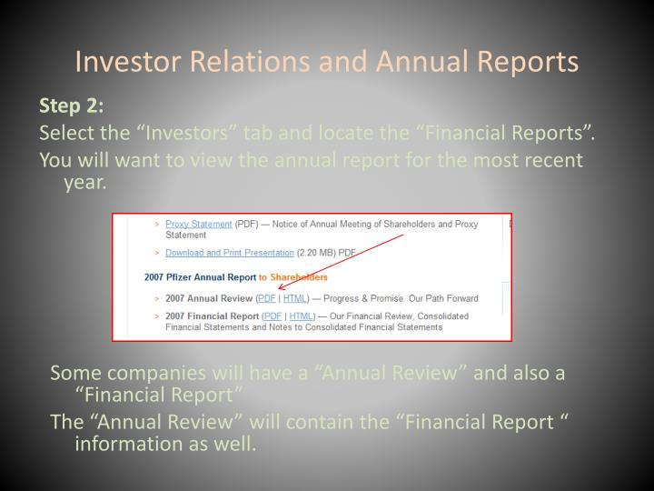 Investor Relations and Annual Reports