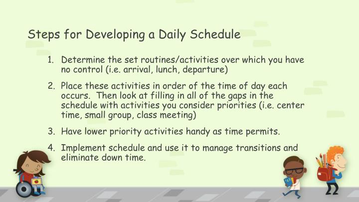 Steps for Developing a Daily Schedule