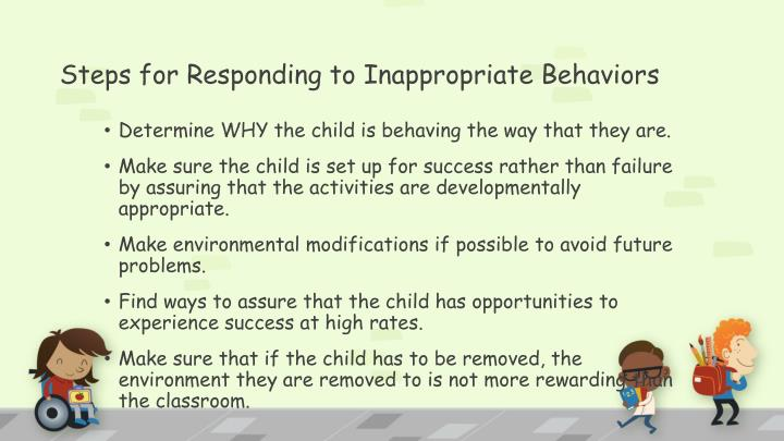 Steps for Responding to Inappropriate Behaviors