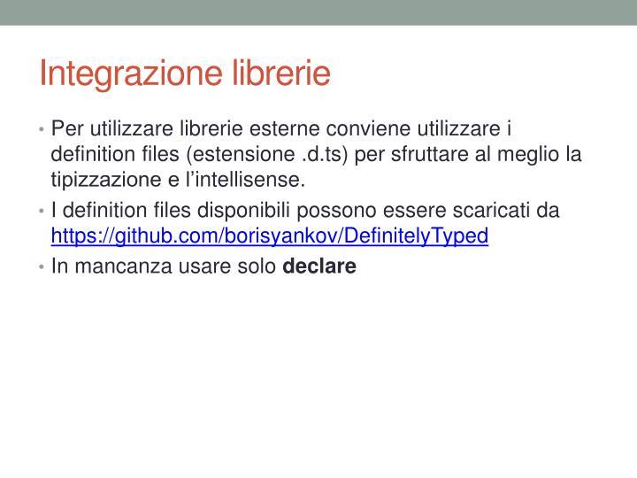 Integrazione librerie