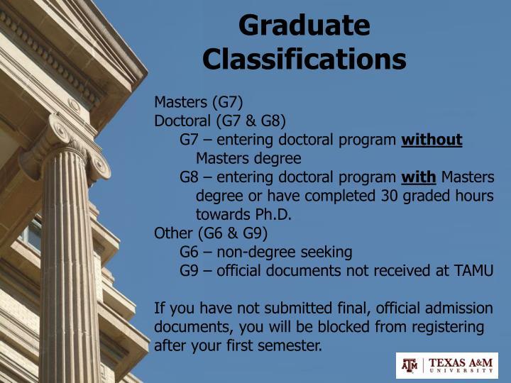 Graduate Classifications