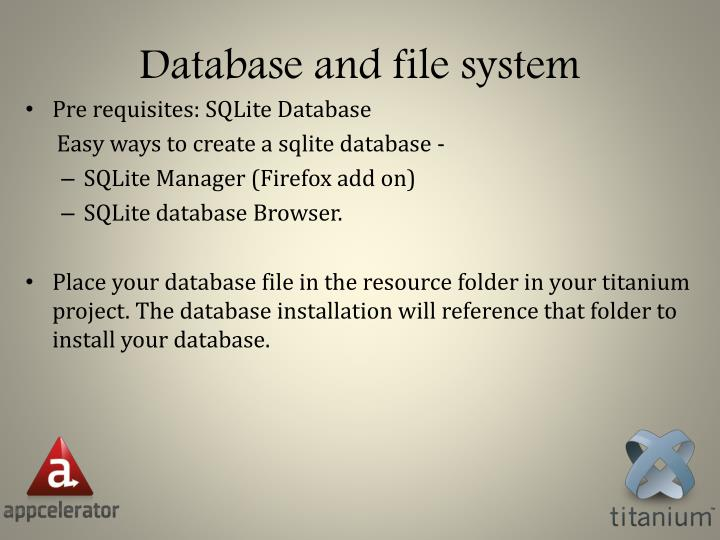 Database and file system