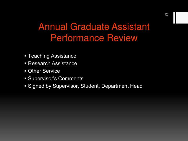 Annual Graduate Assistant Performance Review