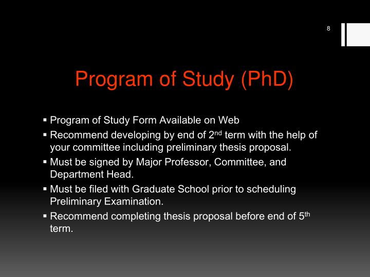 Program of Study (PhD)