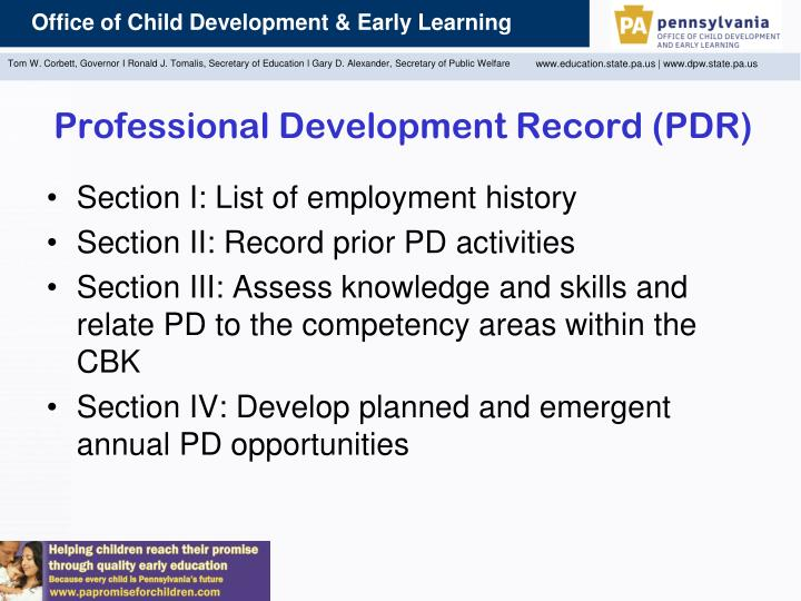 Professional Development Record (PDR)