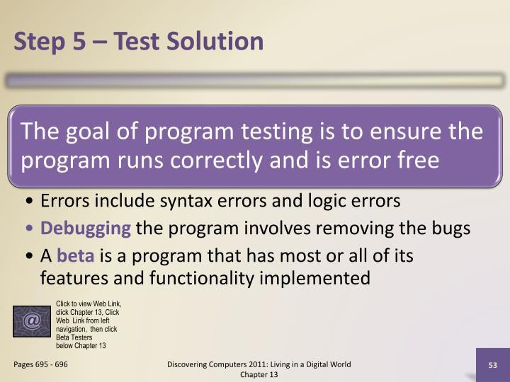 Step 5 – Test Solution