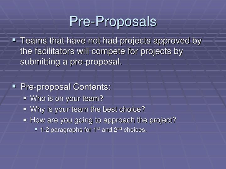 Pre-Proposals