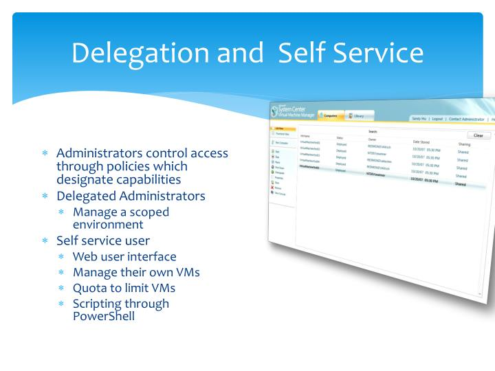 Delegation and  Self Service