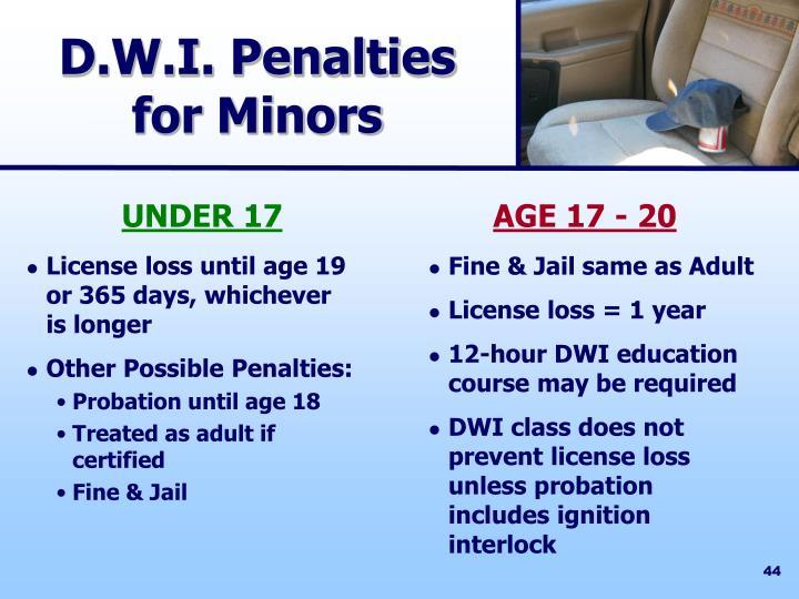 D.W.I. Penalties