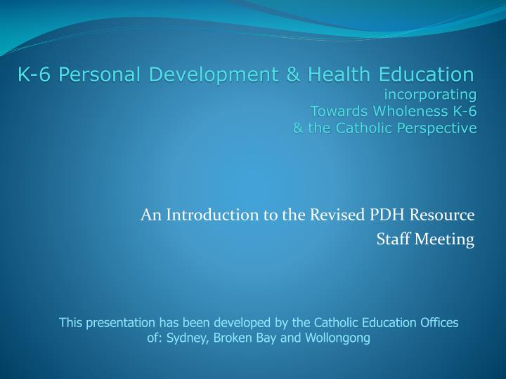 An introduction to the revised pdh resource staff meeting
