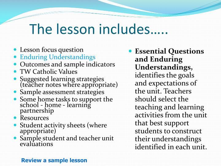 The lesson includes…..