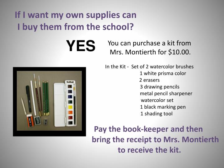 If I want my own supplies can
