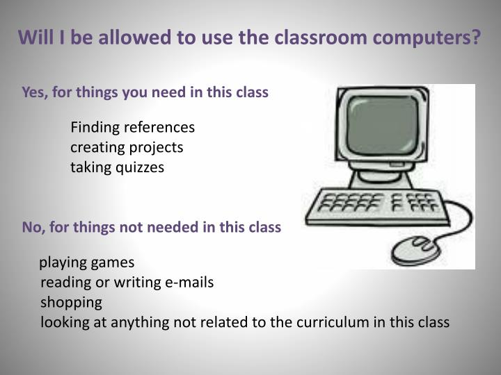 Will I be allowed to use the classroom computers?