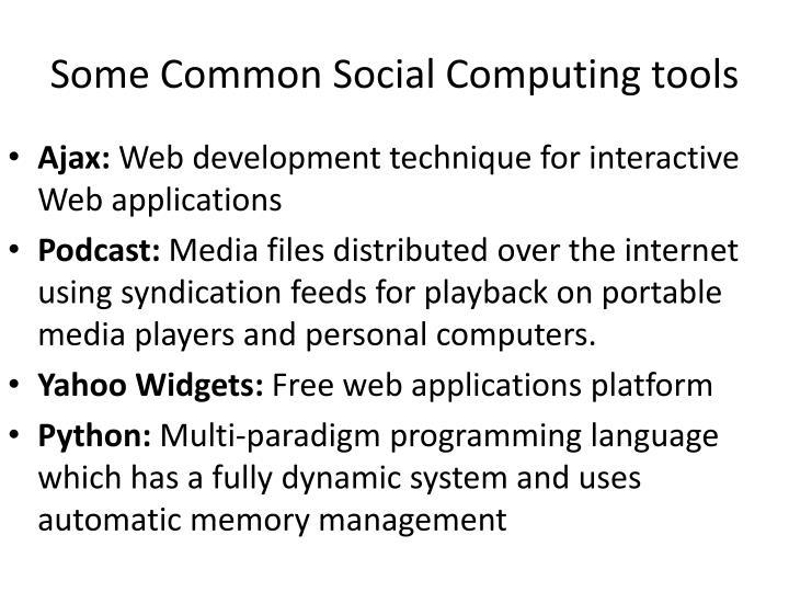 Some common social computing tools
