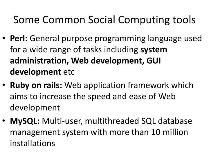 Some common social computing tools1
