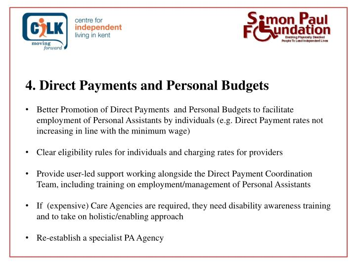 4. Direct Payments and Personal Budgets