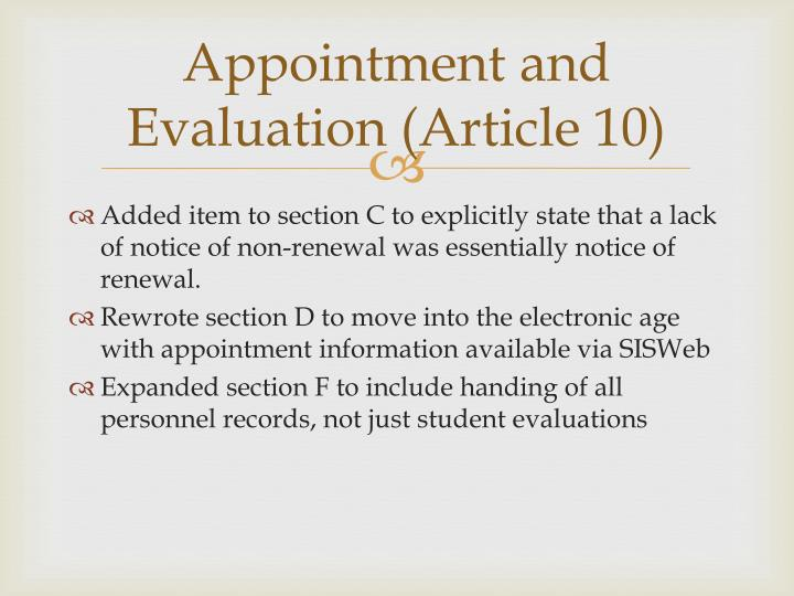 Appointment and Evaluation (Article 10)