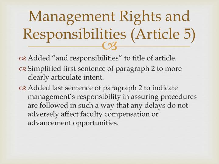 Management Rights and Responsibilities (Article 5)