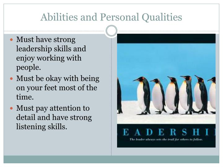 Abilities and Personal Qualities