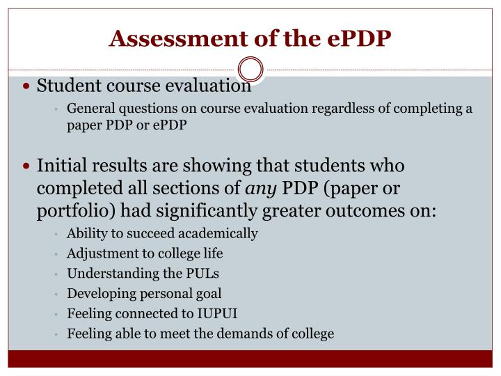 Assessment of the