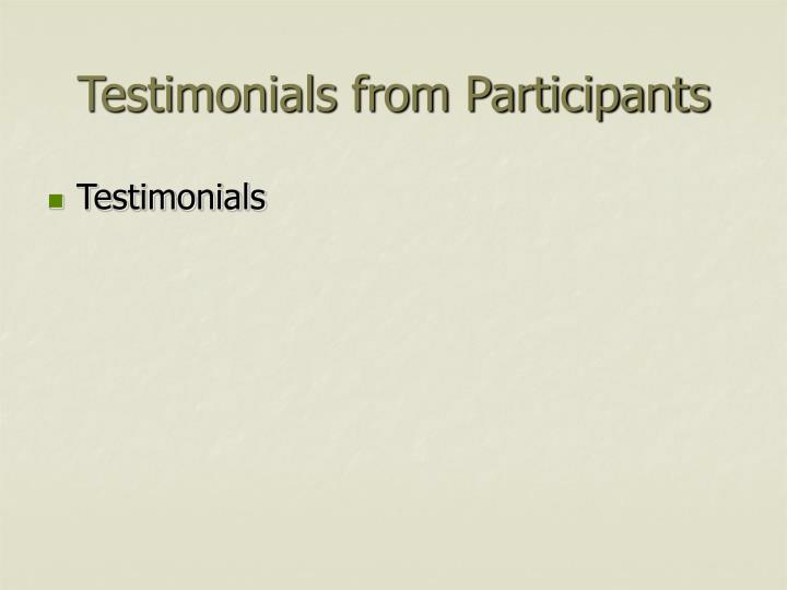 Testimonials from Participants