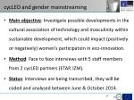cycled and gender mainstreaming