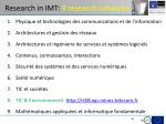 research in imt 9 research networks
