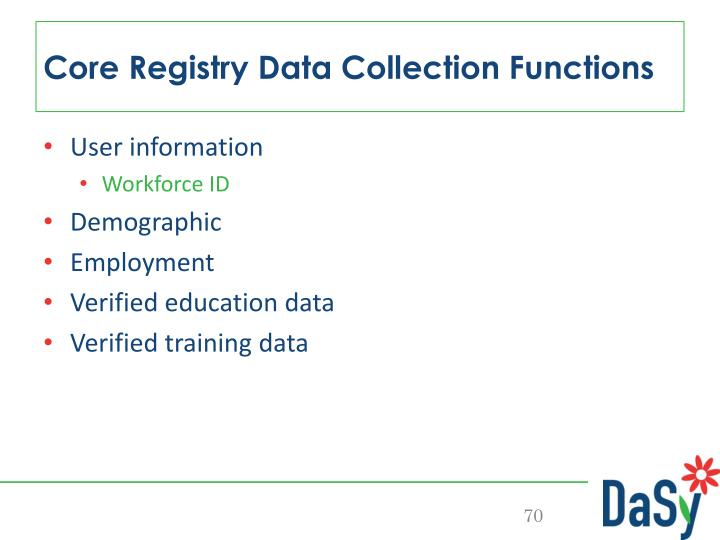 Core Registry Data Collection Functions
