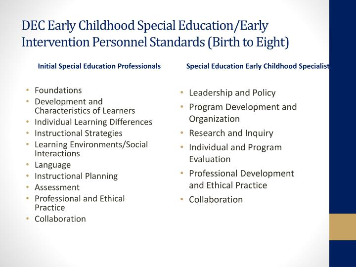DEC Early Childhood Special Education/Early Intervention Personnel Standards (Birth to Eight)
