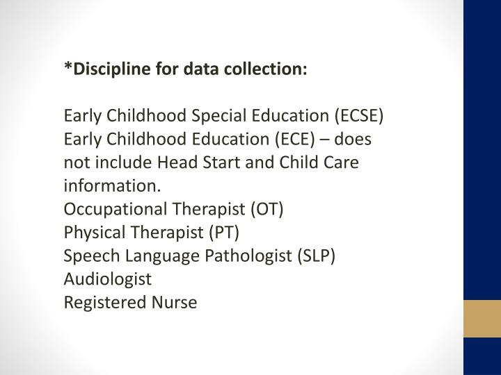*Discipline for data collection: