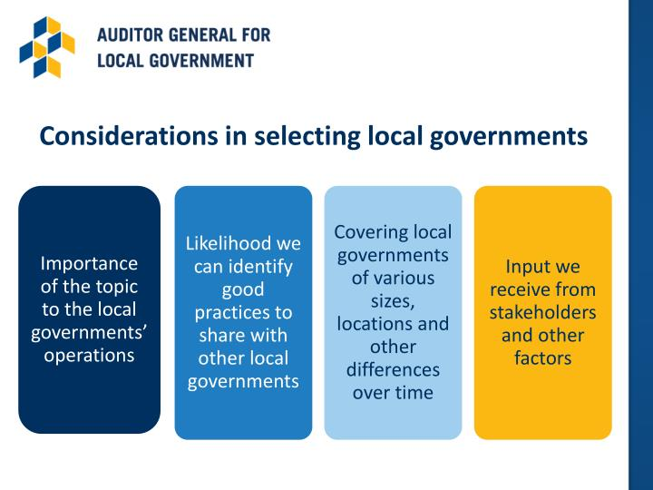 Considerations in selecting local governments