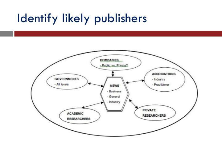 Identify likely publishers