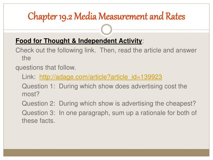 Chapter 19.2 Media Measurement and Rates