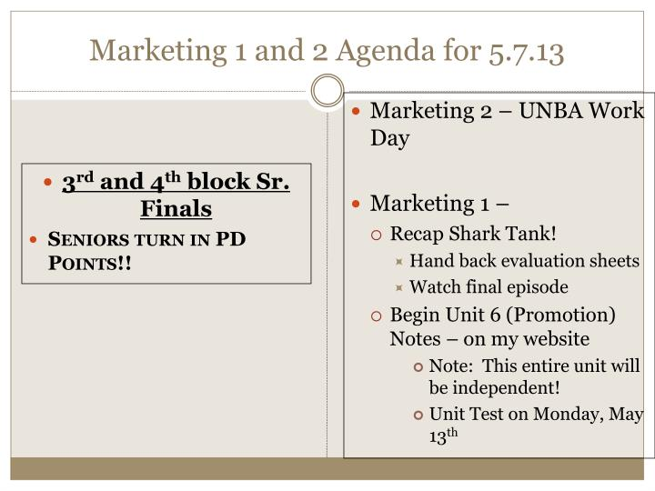 Marketing 1 and 2 agenda for 5 7 13