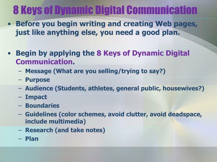 8 Keys of Dynamic Digital Communication