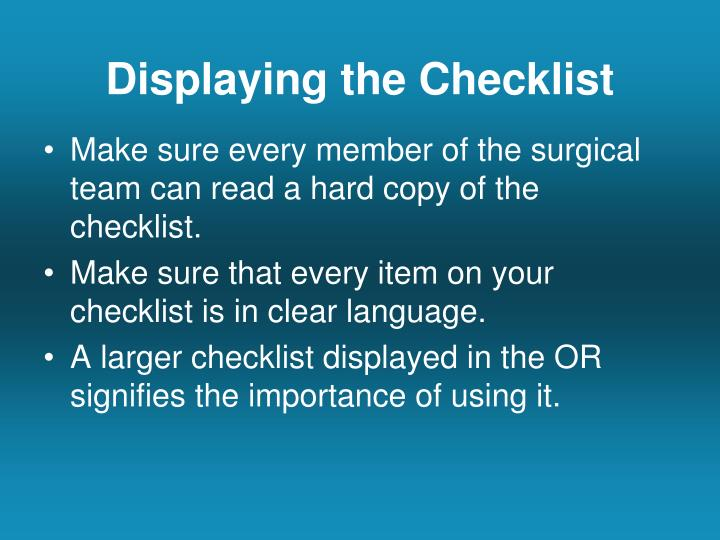 Displaying the Checklist
