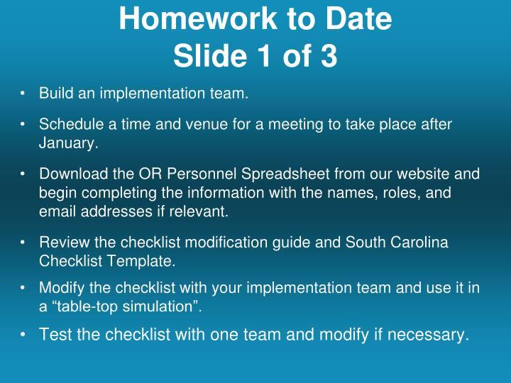 Homework to Date