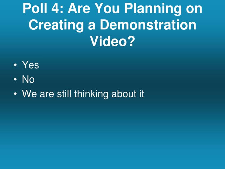 Poll 4: Are You Planning on Creating a Demonstration Video?