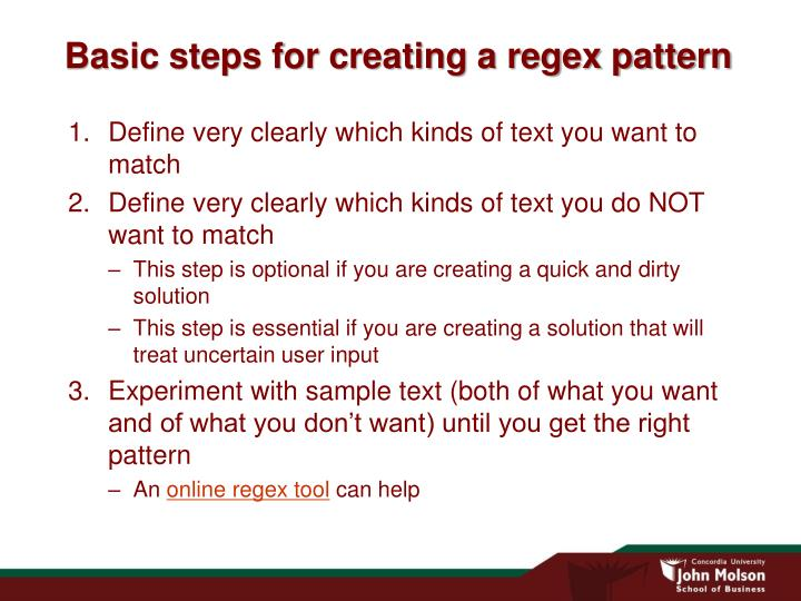 Basic steps for creating a regex pattern