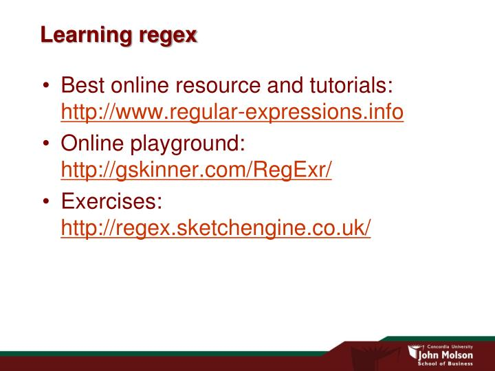 Learning regex
