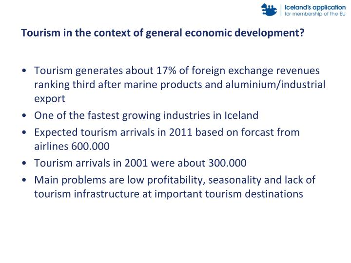 Tourism in the context of general economic development