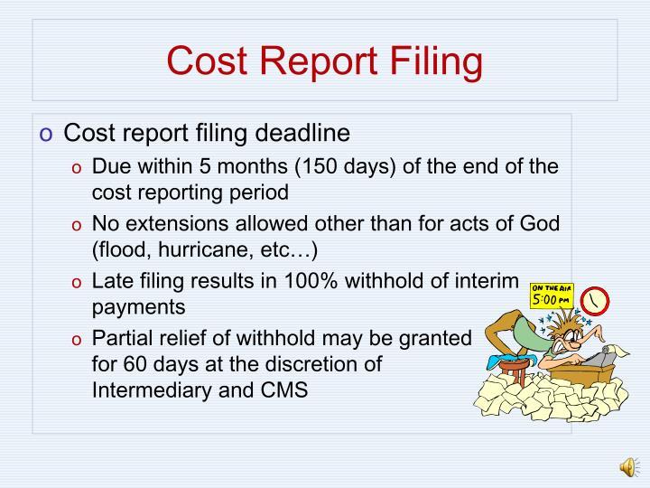 Cost report filing