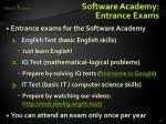 software academy entrance exams