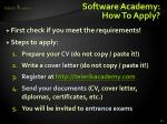 software academy how to apply