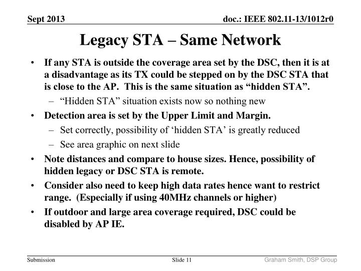 "If any STA is outside the coverage area set by the DSC, then it is at a disadvantage as its TX could be stepped on by the DSC STA that is close to the AP.  This is the same situation as ""hidden STA""."
