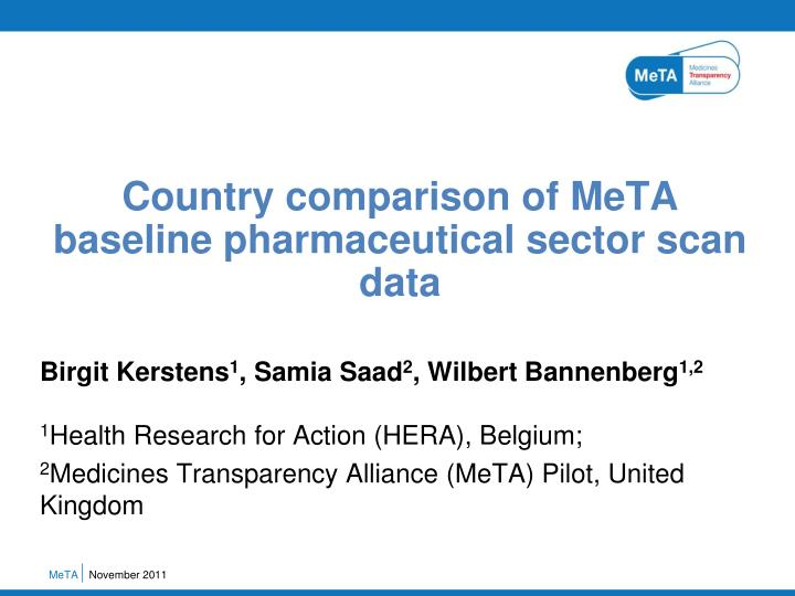 country comparison of meta baseline pharmaceutical sector scan data n.