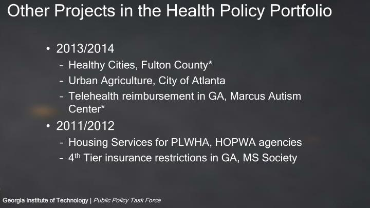 Other Projects in the Health Policy Portfolio
