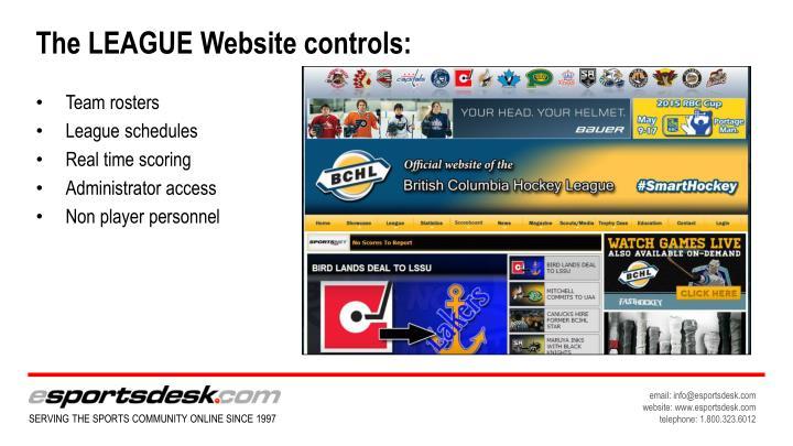 The LEAGUE Website controls: