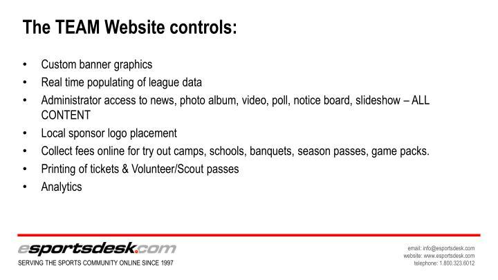 The TEAM Website controls: